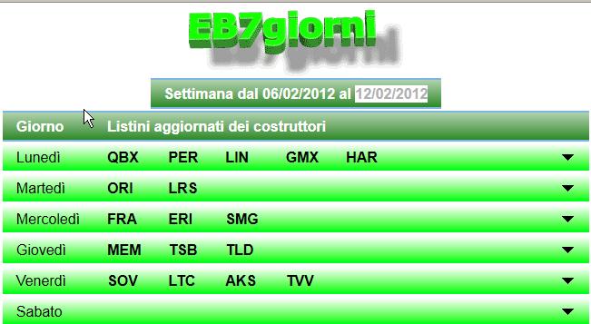 Listini Metel ElettroBank Sette Giorni : EB7